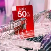 sale tag on retail clothing shelf