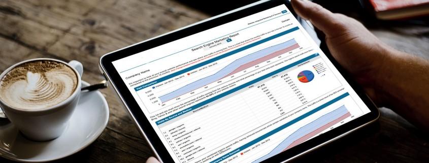 Tablet showing SEO metrics