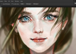 photoshop screenshot with painting of girls face