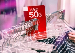 sale tag on retail clothing shelf